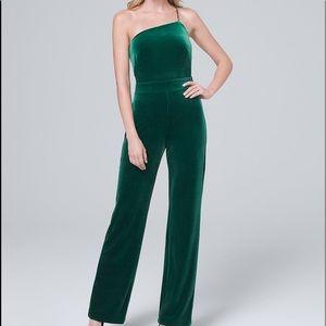 WHBM One Shoulder Green Velvet Jumpsuit